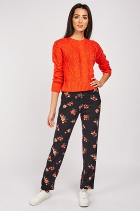 Floral Printed Jersey Trousers