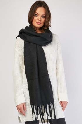Long Fringe Trim Scarf
