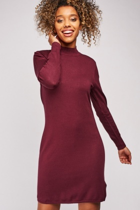 Ribbed Plain Knit Dress