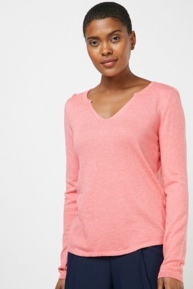 V-Neck Plain Knit Top