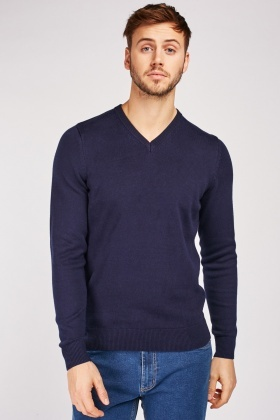 V-Neck Pure Cotton Knit Jumper