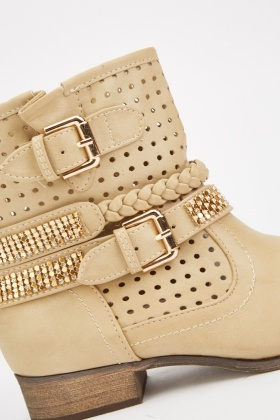 Buckled Perforated Contrast Ankle Boots