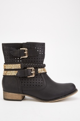 Diamante Trim Ankle Boots
