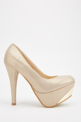 High Heeled Metallic Shoes