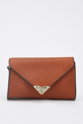 Metallic Tip Envelope Cross-Body Bag