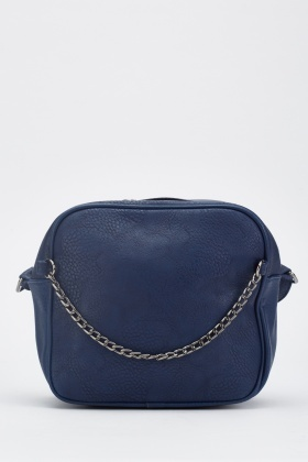 Textured Chain Front Cross-Body Bag