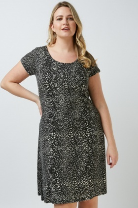 Animal Print Scoop Neck Dress