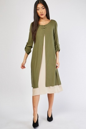 Crinkled Midi Tunic Dress