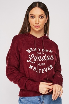 Embroidered Front Fleece Hoodie
