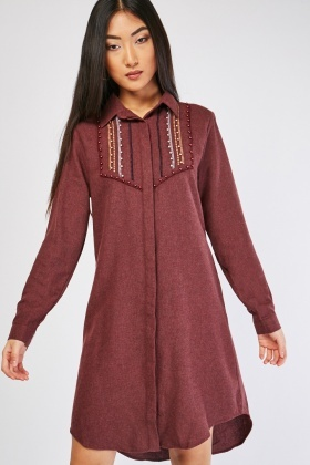 Faux Pearl Encrusted Mini Shirt Dress