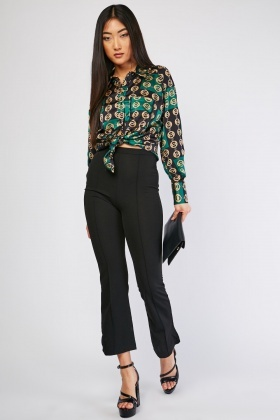 Flared Leg Plain Trousers