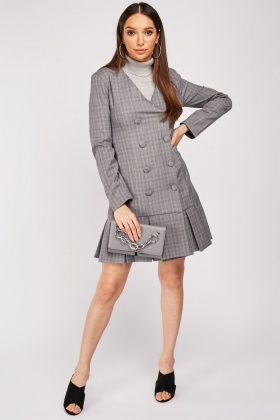 Frilly Hem Double Breasted Blazer Dress