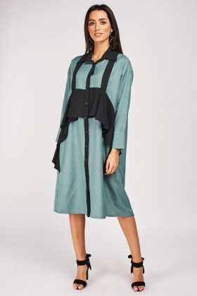 Ruffle Panel Shirt Dress