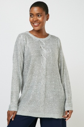 Sequin Cable Knit Panel Jumper