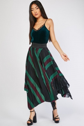 Striped Pleated Asymmetric Skirt