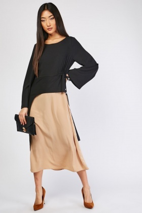 Tie Up Open Front Contrasted Dress