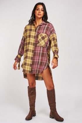 Tie Up Sleeve Checked Shirt Dress