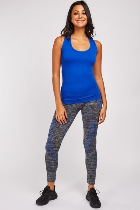 Colour Block Sports Top And Leggings Set