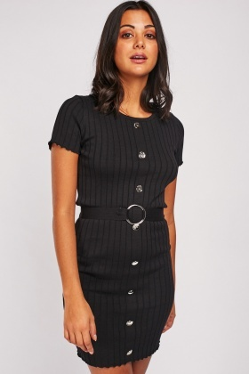 Decorative Button Trim Knit Dress