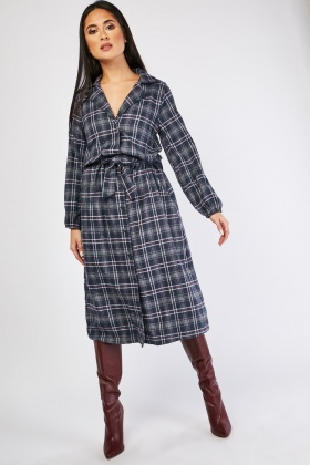 Midi Plaid Shirt Dress