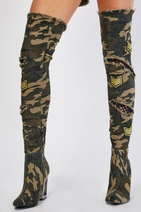 Camouflage Print Thigh High Boots