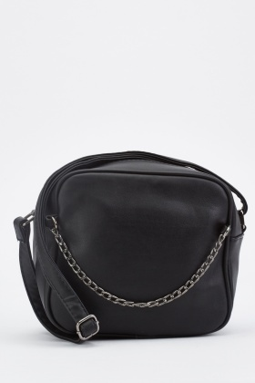 Chain Trim Front Cross-Body Bag