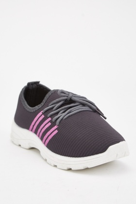 Dark Grey Printed Side Trainers