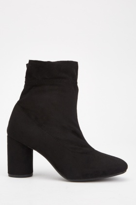 Ruched Heeled Ankle Boots