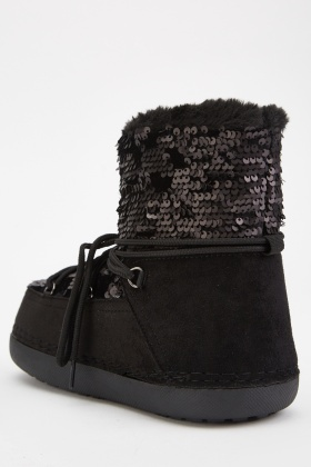 Sequin Encrusted Winter Boots
