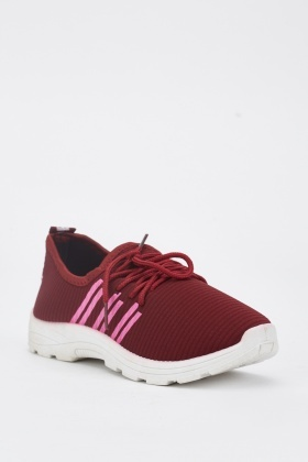 Wine Lace Up Trainers