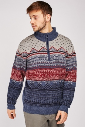 Aztec Fair-Isle Pattern Jumper