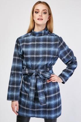 Checkered Belted Waist Shift Dress