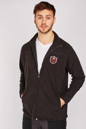 Embroidered Patch Fleece Jacket