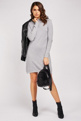 Funnel Neck Knit Jumper Dress