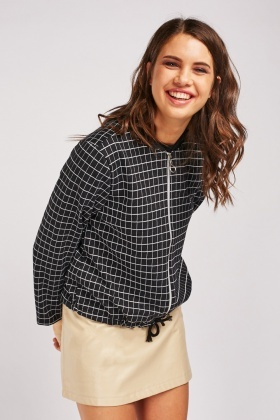 Ribbed Neck Windowpane Jacket