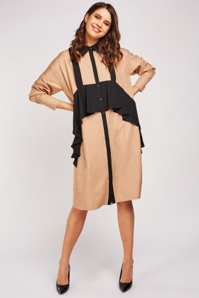 Ruffle Panel Midi Shirt Dress