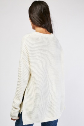 Textured Hi-Low Knit Jumper