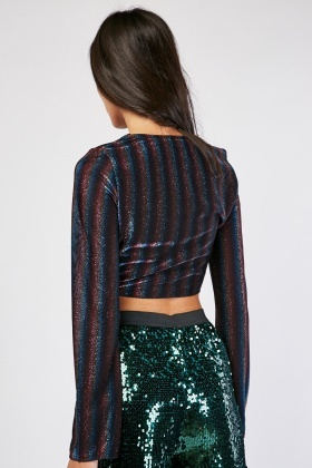 Tie Up Metallic Stripe Crop Top