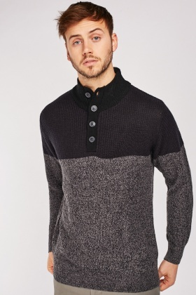 Two-Tone Herringbone Jumper