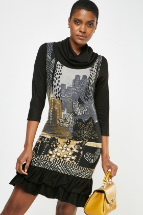 Cowl Neck Printed Shift Dress