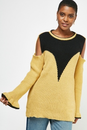 Cut Out Shoulder Knit Jumper