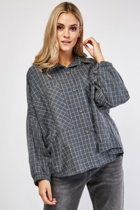 Elasticated Sleeve Cuff Checkered Box Shirt