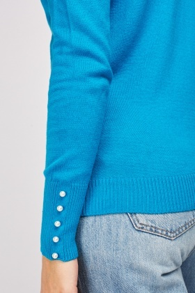 Faux Pearl Trim Knit Pullover