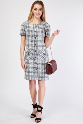 Flap Pocket Front Checkered Dress