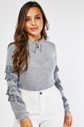 Fringed Sleeve Panel Top