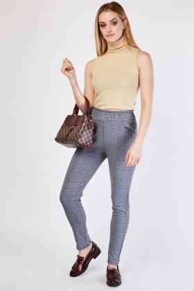 High Waisted Plaid Skinny Trousers