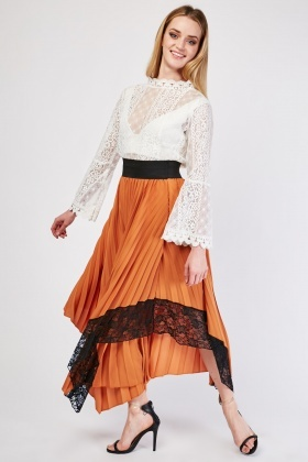 Lace Trim Maxi Pleated Skirt