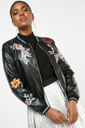 Metallic Flower Applique Bomber Jacket