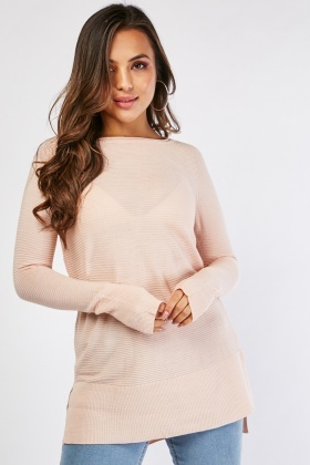 Ribbed Side Slit Knit Jumper
