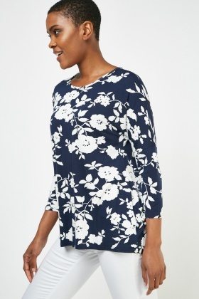 Round Neck Floral Print Top